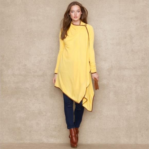 af82532339 Ralph Lauren Sweaters | Leather Trim Wrap Long Sweater | Poshmark